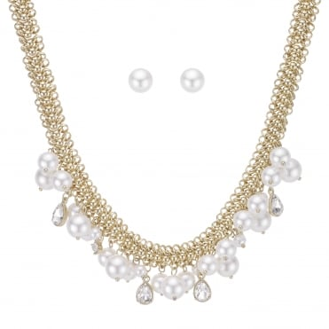 Cream Pearl And Crystal Gold Jewellery Set