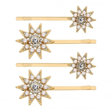Pearl and crystal star hair slide set