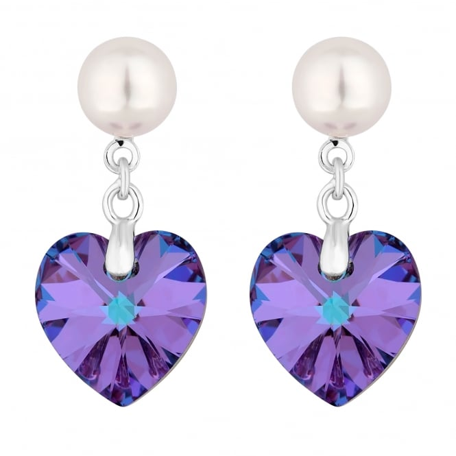 Silver Pearl And Purple Heart Drop Earring Embellished With Swarovski Crystals