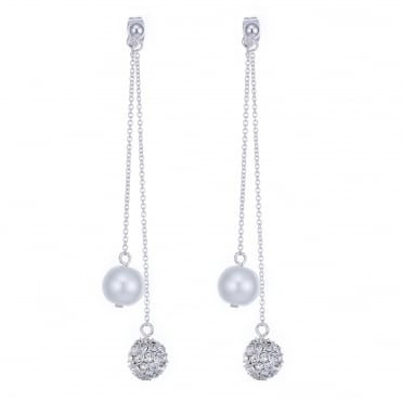 Pearl and pave ball silver earring