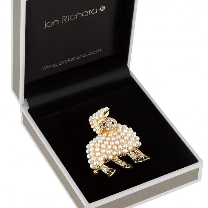 Pearl lamb brooch