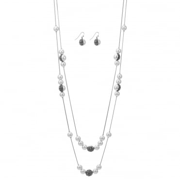 Pearl pave multi row necklace and earring set