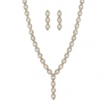Pearl y drop necklace and earring set