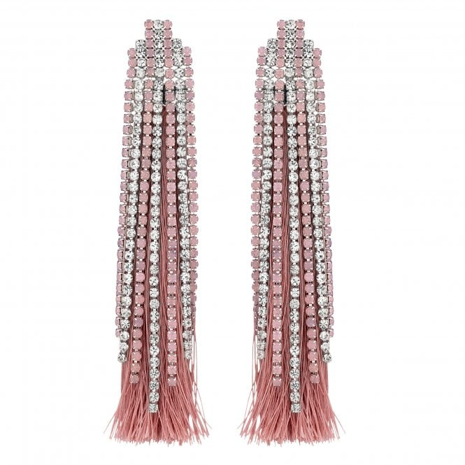 Pink Crystal And Tassel Drop Earring