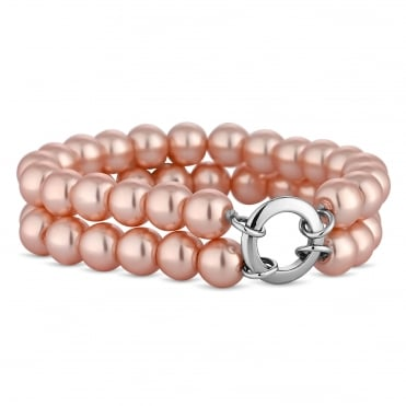 Pink pearl double row bracelet