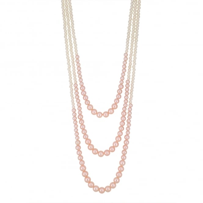 MOOD By Jon Richard Pink pearl multi row necklace