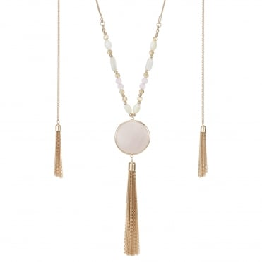 Pink stone tassel drop necklace