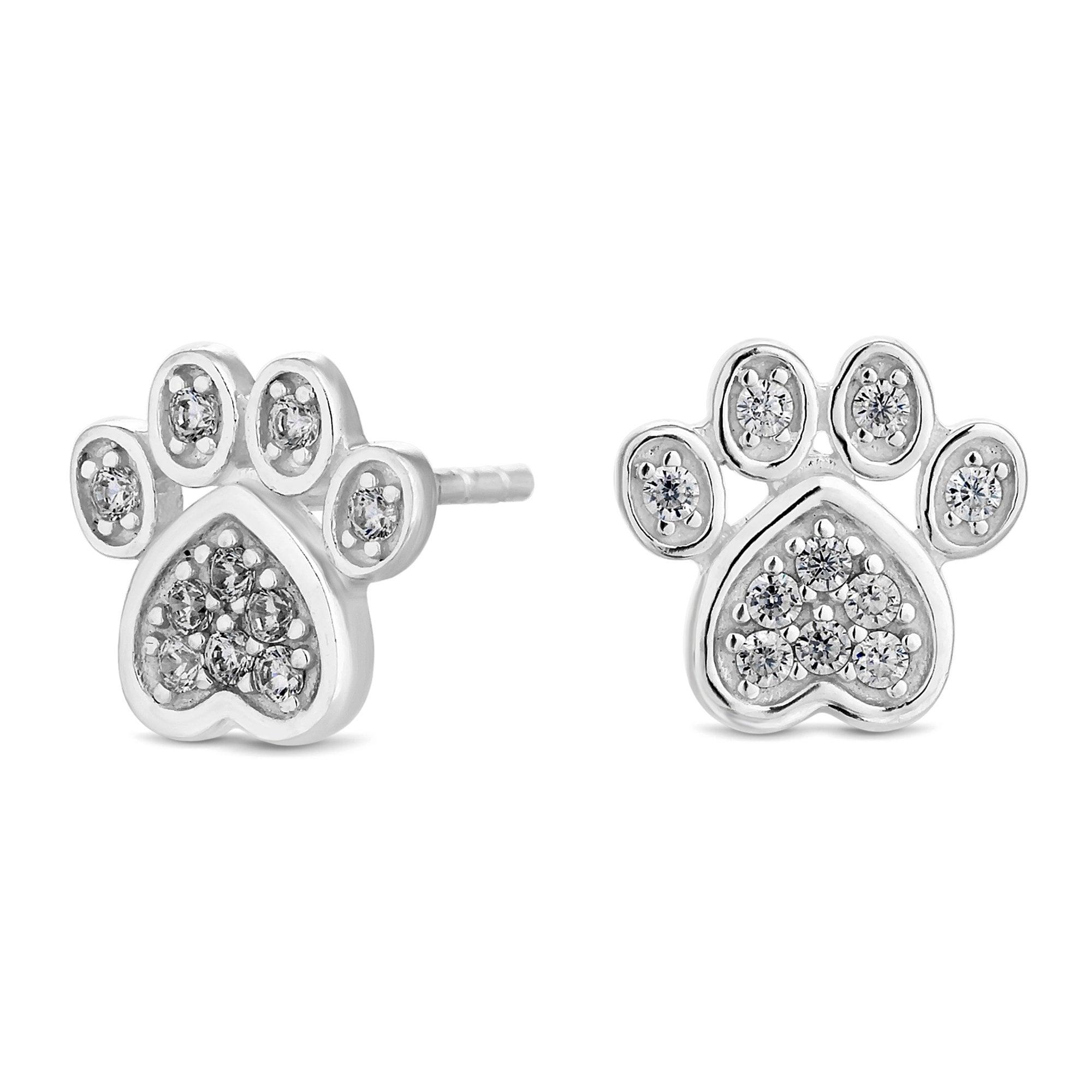 925 Sterling Silver Paw Print Stud Earrings