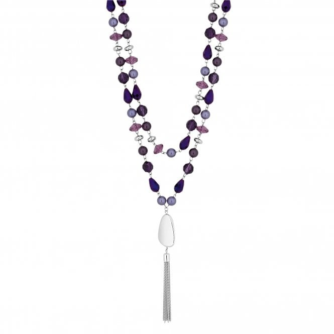 Purple Beaded Multi Row Long Necklace