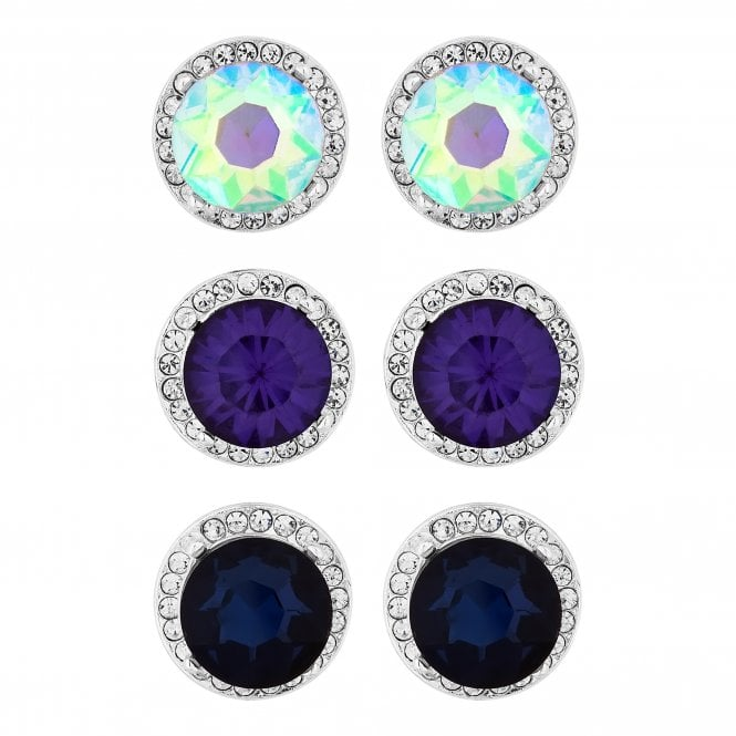 Purple Blue And Aurora Borealis Stud Earring Set