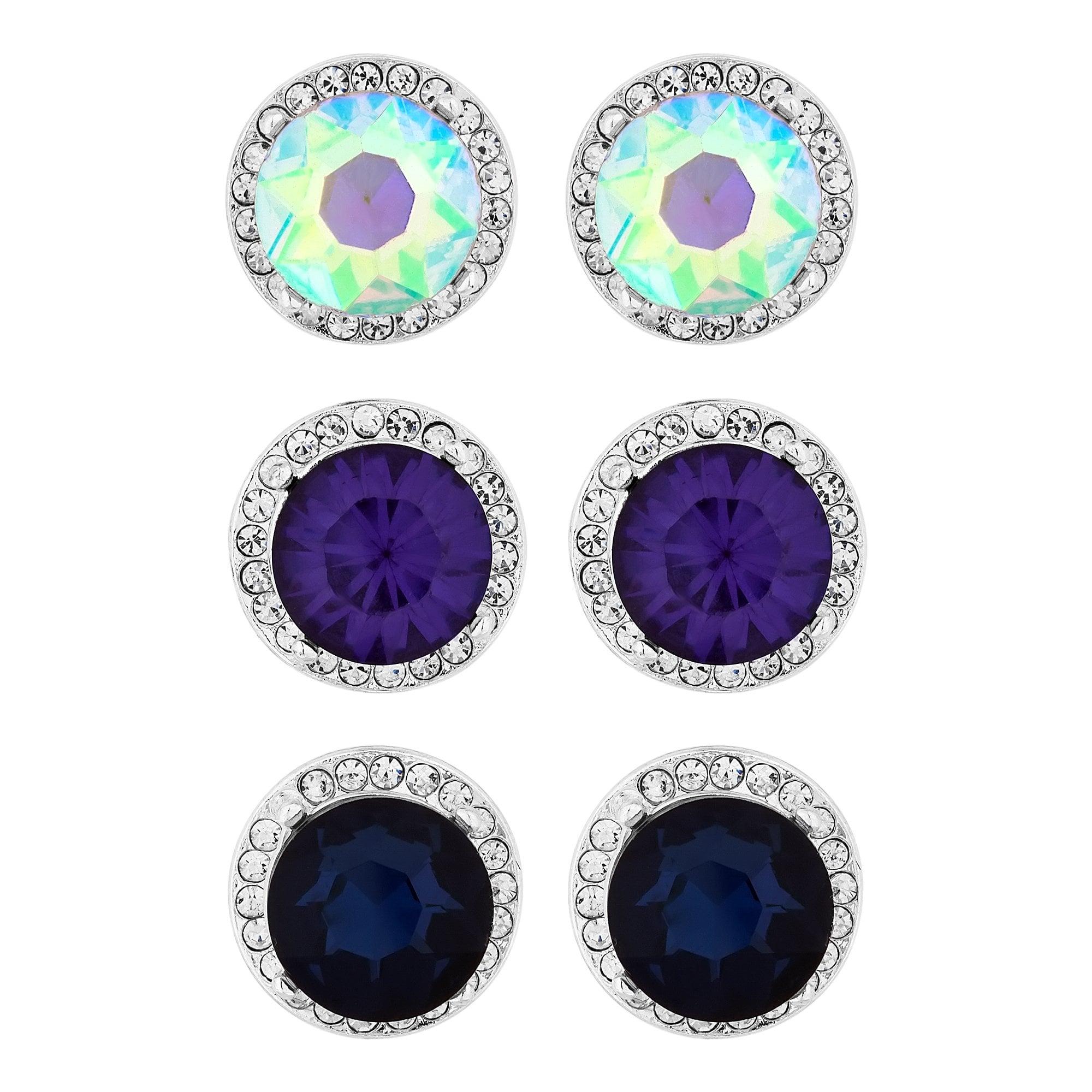 Purple Blue And Aurora Borealis Stud Earring Set