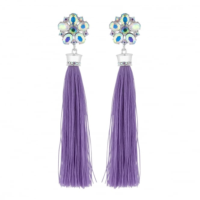 Purple Floral Tassel Drop Statement Earring