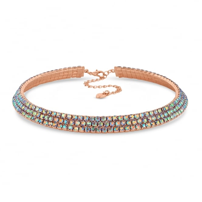 Rose Gold Rainbow Crystal Collar Choker Necklace