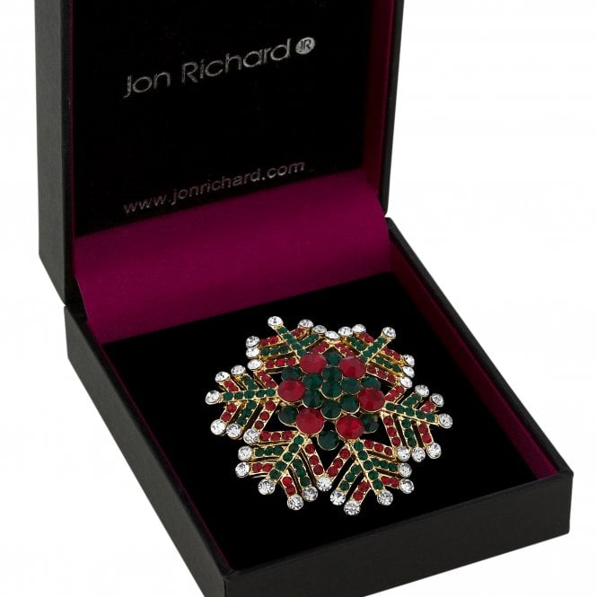 Red And Green Crystal Snowflake Brooch