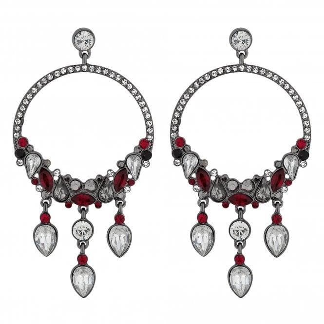 Red Crystal Cluster Hoop Earring