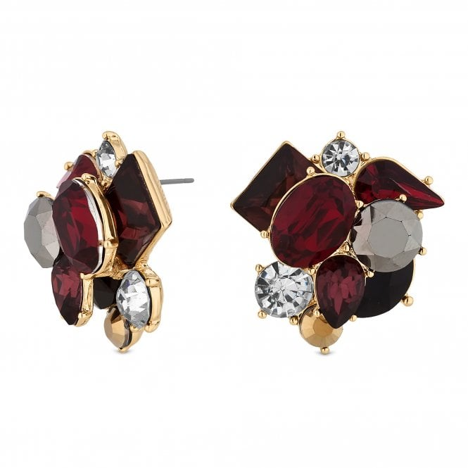 Red Crystal Cluster Oversized Stud Earring