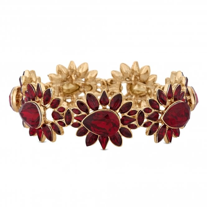 Red Crystal Cluster Stretch Bracelet