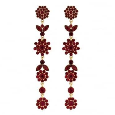 Red crystal floral drop earring