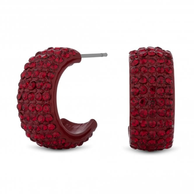 Red Crystal Half Hoop Earring