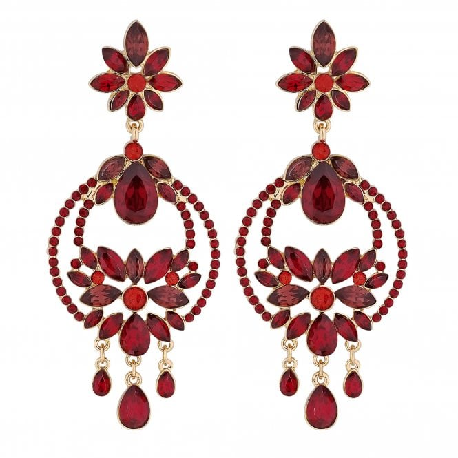 Red Crystal Ornate Drop Earring