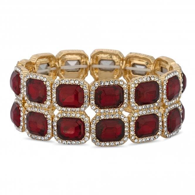 Red Crystal Square Stretch Bracelet