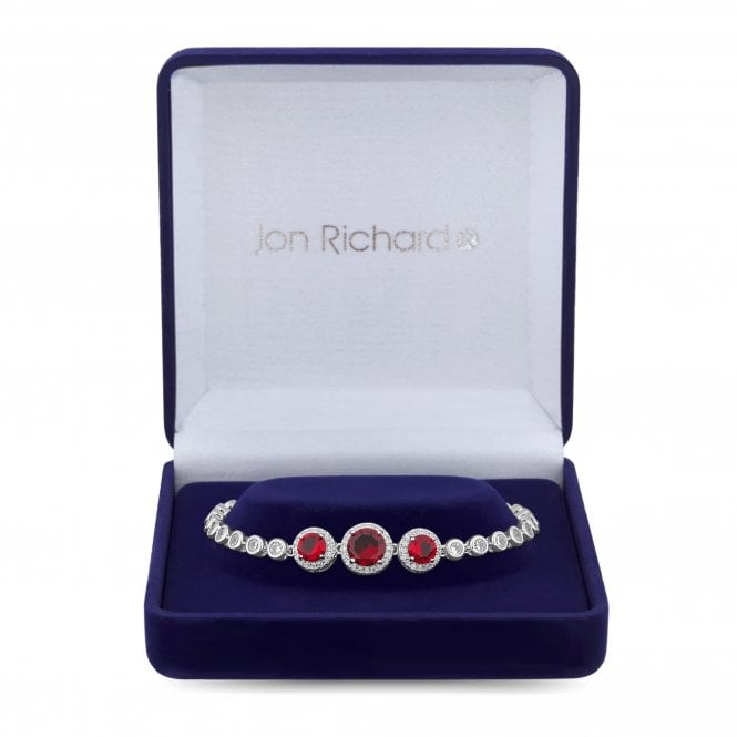 Red Cubic Zirconia Halo Bracelet