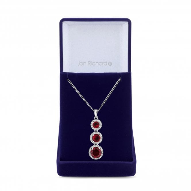 Red Cubic Zirconia Halo Pendant Necklace