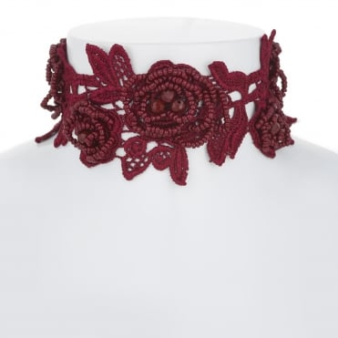 Red floral lace choker necklace
