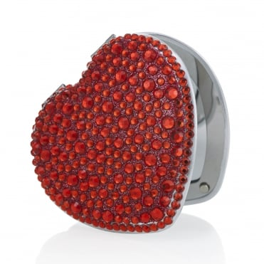 Red heart crystal compact mirror