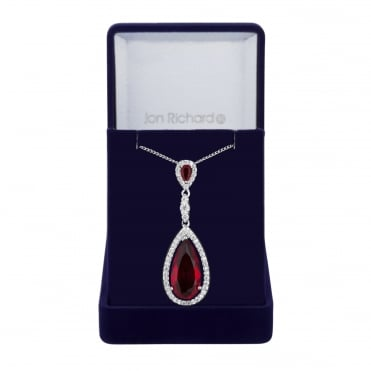 Red peardrop pendant necklace