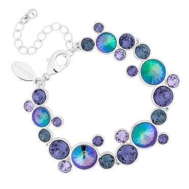 Silver Purple Rivoli Cluster Bracelet Embellished With Swarovski® Crystal
