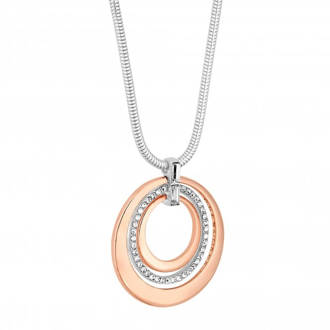 Rose Gold And Silver Crystal Circle Long Necklace