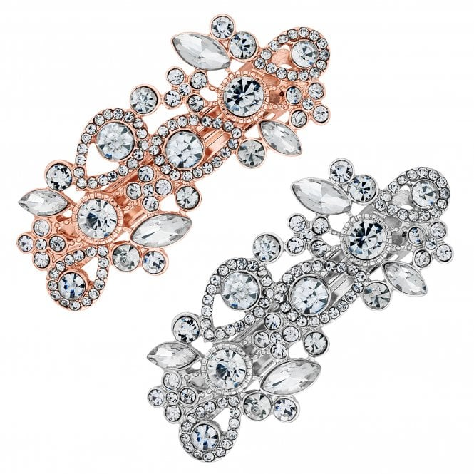 Rose Gold And Silver Crystal Ornate Hair Clip Set