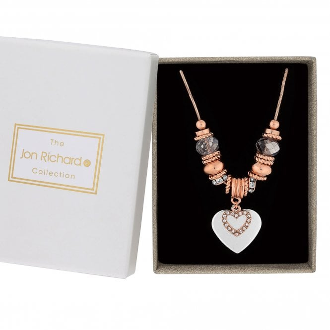 Rose Gold And Silver Heart Charm Necklace