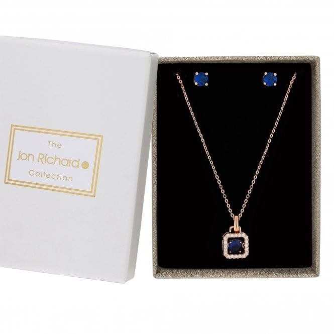 Rose Gold Blue Suspended Dancing Cubic Zirconia Jewellery Set