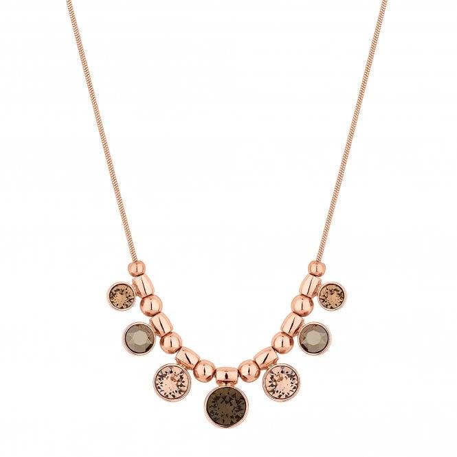 Rose Gold Bronze Charm Necklace Embellished With Swarovski Crystals