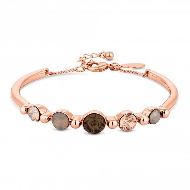 Rose Gold Bronze Crystal Bangle Embellished With Swarovski Crystals