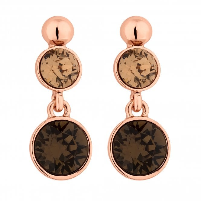 Rose Gold Bronze Drop Earring Embellished With Swarovski Crystals