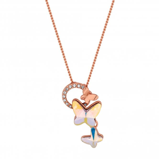Rose Gold Butterfly Pendant Necklace Embellished With Swarovski Crystals