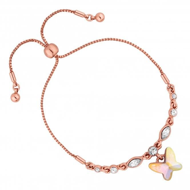Rose Gold Butterfly Toggle Bracelet Embellished With Swarovski Crystals