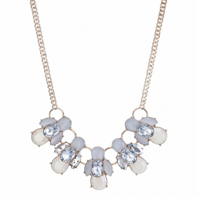 Rose gold crackle crystal cluster necklace