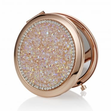 Rose gold crushed crystal compact