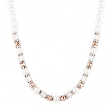 Rose gold crystal and pearl beaded necklace