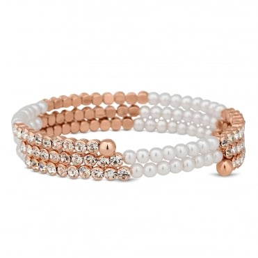 Rose gold crystal and pearl coil twist bracelet