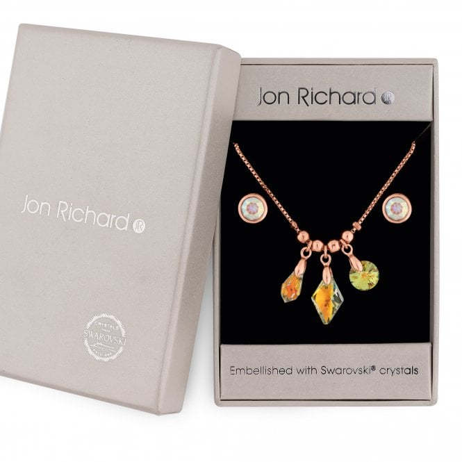Rose Gold Crystal Charm Jewellery Set Embellished With Swarovski Crystals