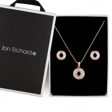 Rose gold crystal circle jewellery set