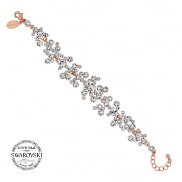 Rose gold crystal cluster bracelet MADE WITH SWAROVSKI CRYSTALS
