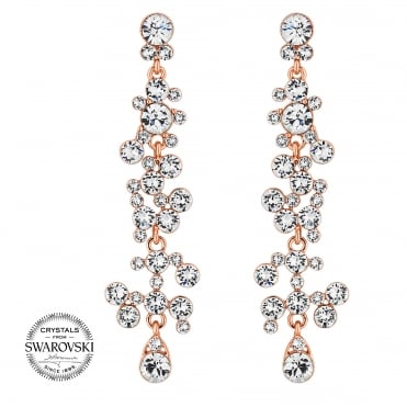 Rose gold crystal cluster drop earring MADE WITH SWAROVSKI CRYSTALS