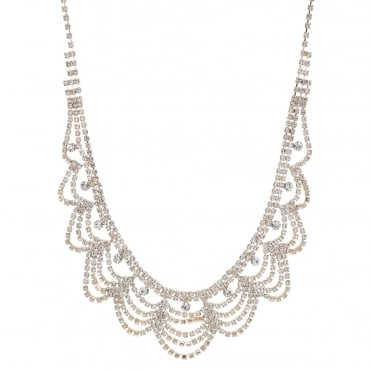 Rose gold crystal diamante bib necklace