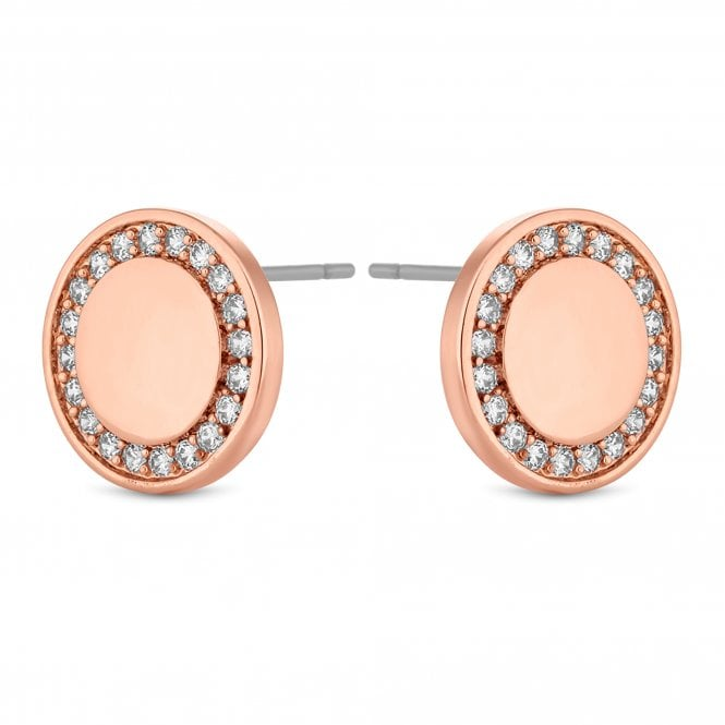 Rose Gold Crystal Disc Stud Earring